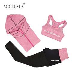 Yoga Pants Jacket UK - Voobuyla New 3Pcs Set Running Yoga Suit Sport Jacket+Bra+Pants Female Breathable Gym Jogging Sport Set Quick Dry Running XXL