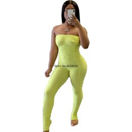 neon romper 2020 - Neon Rompers Bodycon Tube Jumpsuit Women Summer Off Shoulder Backless Body Romper Overalls Ruched Stacked Leggings Pants