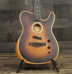 Tienda personalizada Acoustasonic Tele Sunburst Guitarra eléctrica Poliéster Satin Matte Acabado mate, Spurce Top, Profundo C Color de caoba, Hardware de cromo en venta