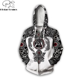 3d tattoo designs free NZ - PLstar Cosmos 2019 New design Fashion zip hoodie Viking Tattoo 3D Printed Unisex Hoodie streetwear Casual jacket coat Drop ship
