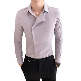 Korean Hair Casual UK - Men's long-sleeved Korean version of the Slim professional wear hair stylist handsome shirt side buckle casual trend shirt