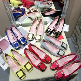 American Leather Shoes Australia - New style square buckle single shoes women's middle heel new style light patent leather European and American chunky low heel shoes