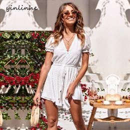 $enCountryForm.capitalKeyWord Australia - yinlinhe White Polka Dot Beach playsuit Summer Overalls Women Jumpsuit Short sleeve slim waist sexy Transparent rompers 825