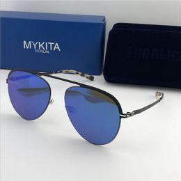 c24a0935eb new mykita sunglasses ultralight frame without screws MKT ONNO pilot frame  top men brand designer sunglasses coating mirror lens