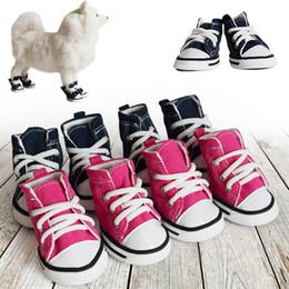 Spring Fall Canvas Shoes Australia - Pet Dog Sports Canvas Jean Shoes Outdoor Fashion Dogs Blue Pink Denim Sneakers Puppy Cat Shoes Pet Accessories 4pcs set