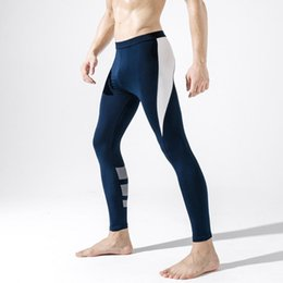 Wholesale thin elastic underwear resale online - Men s Leggings Running Training High Elastic Pants Thin Men s Autumn Pants Long Johns Thermal Underwear