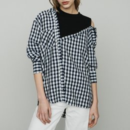 Off Shoulder Blouse Cotton Australia - 2019 Spring Summer Plaid Print Long Sleeves Off Shoulder Round Collar Cotton Panelled Asymmetry Blouse Women Long Shirt Fashion M3118