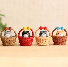 miniatures figures NZ - Miniature Cat Figure Animal Toys Cute Basket with Kitty Fairy Garden Party Decorations Ornaments 4 Colors