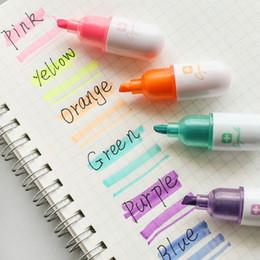 Wholesale Mini Stationery Australia - 6 Pcs Mini Shape Highlighter School Highlight Marker Color Pens Stationery Painting Graffiti Marker Pen