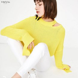 Fashion belts applique online shopping - Fashion Womens Winter Loose Neckline New See Through Sexy Knitted Sweater Pullover With Special Cuffs Drop Shipping