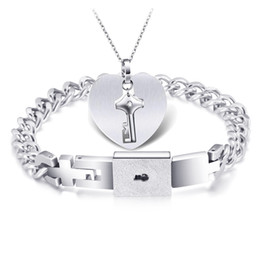 7940678a26 Titanium Steel Couple Bracelet Necklace Kit Rushing on Cloud Heart Key Set  with Concentric Lock Lady Jewelry
