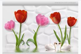 $enCountryForm.capitalKeyWord Australia - 3D wallpaper custom photo Silk mural wallpaper Water tulips 3d living room TV sofa background wallpaper for walls 3d