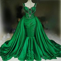 detachable prom dresses UK - Ziad Naked Mermaid Overskirts Evening Dresses Green Beaded Sweetheart Strap Prom Dress Detachable Train Yousef Aljasmi Party Gowns