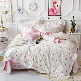 Girls Pink Bedding Sets Australia - White blue pink 4 7pc queen king Bedding Sets 100%cotton girls bed set bed cover soft Bedsheets Duvet quilt cover set 40