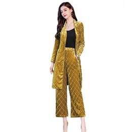 $enCountryForm.capitalKeyWord UK - New arrival 2019 Spring 2 Piece Set for Women fashion solid color yellow full suits women office lady slim belt blazer+pants 813