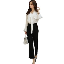 outfit office 2019 - Flare Sleeve V Neck Bow Tie Shirt Blouse Women Tops And Pant Suit 2 Piece Set 2019 Summer Office Lady Long Flare Trouser