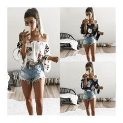 Off Shoulder Blouse Cotton Australia - Sexy off Shoulder Flower Print Cotton Blouse Women Flare Sleeves Cropped Shirt Casual Rustic Summer Style Crop Top Boho Tee New