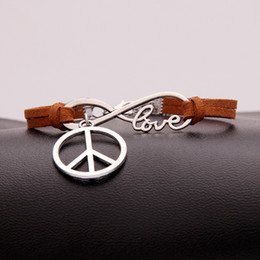 $enCountryForm.capitalKeyWord NZ - Bracelet & Bangles For Woman Man Zinc Alloy Infinity Love Peace Sign Charms Bohemian Handmade Brown Leather rope Wrap Cuff Statement Jewelry