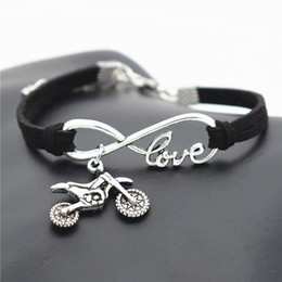 $enCountryForm.capitalKeyWord NZ - Black Leather Suede Charm Punk Hand-Woven Armband Bracelets & Bangles Infinity Love Motocross Flying Fast Motorcycle Dirt Bike Gifts Jewelry