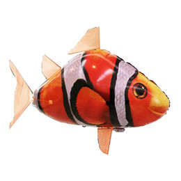 rc flying shark fish NZ - 1PCS Remote Control Flying Air Shark Toy Clown Fish Balloons RC Helicopter Robot Gift For Kids Inflatable With Helium Fish Water Sports