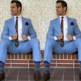 Suits Custom Made Australia - Men Suits Wedding Man Suits Blue Business Man Blazer Groom Tuxedos 2Piece (Coat+Pants) Custom Made Costume Homme Slim Fit Terno Masculino