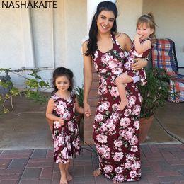 0477fbf268 NASHAKAITE Mother Daughter Dresses 2019 Summer Sleeveless Flower Long Tank Dress  Family Matching Clothes Mom and Daughter Dress