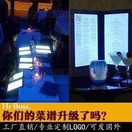 Перезаряжаемое светодиодное меню из искусственной кожи складное подсвечиваемое меню размера А4 для ресторанного отеля