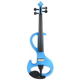 violin fingerboard 2019 - NAOMI Electric 4 4 Violin Silent Pickup Basswood Violin Pegs Fingerboard FULL SIZE VIOLIN SET Blue S cheap violin finger