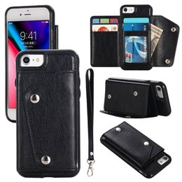 designs for iphone cases Canada - For Iphone 6 7 8 Plus X XS MAX XR Light Luxury Fashion Card slot Holster Simple Modelling Design With Hand Strap Phone Case Cover