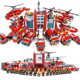 Build Toy Car Australia - Fire Blocks Series Fire Station Car Helicopter Building Blocks Educational Bricks Toy Compatible legoing City Fire