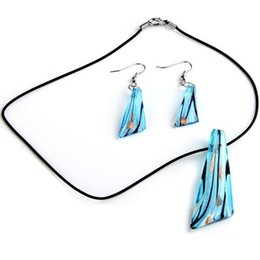 murano glass necklace sets UK - Fashion Glass Murano Pendant Jewelry Sets Pendent Necklace Dangle Drop Earrings for Women