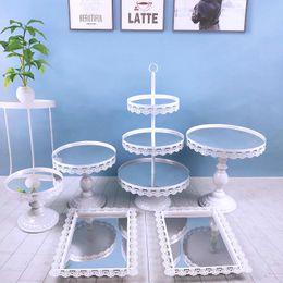 $enCountryForm.capitalKeyWord Australia - 6pcs  set Wedding Gold Pink Silver White Metal Cupcake Wholesale 3-layer Dessert Crystal Mirror Cake Stand