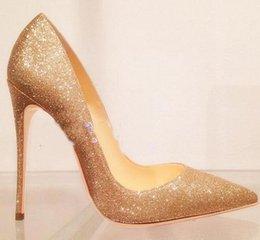 Vente en gros 2019 Mode Femmes Chaussures Or Giltter Paillettes Talons Hauts Talons Minces Pompes Chaussures De Mariage Chaussures Habillées 120mm