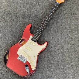 Mixing Electric Guitars Australia - In stock, red mixed color retro electric guitar style retro, relic electric guitar, give friends gifts. Free shipping.