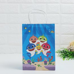 $enCountryForm.capitalKeyWord NZ - Shark Party Bags Supplies Birthday Gift Favor Goodie Candy Gifts Goody Paper Treat Theme for Baby Cute Shark Bday Decorations
