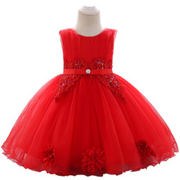 Tulle calf lengTh dress online shopping - Children cross border new wash dress sequined beaded embroidery baby princess dress decal wedding dress