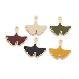 $enCountryForm.capitalKeyWord Australia - 200PCS lot Gingko Leaf Charms, Enamel Leaf Pendants, Jewellery Making Supplies,23*22mm 5 colors for option