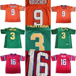 fbf68d6e216 Notre Dame Fighting Irish 3 Joe Montana College Football Jersey  9 Boucher  Water boy The Replacements  16 Shane Falco Movie Jersey