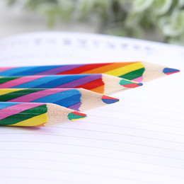 rainbow pencils 2019 - Korean Edition Creative Lovely Rainbow Four-color Children's Painting Wooden Lead Pencil for School Student Gifts S