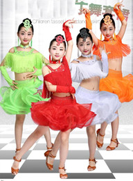 professional white dancing dresses UK - New Girls Latin Dance Dresses Performance Clothing Professional Tassel Ballroom Latin Dress Stage Dance wear For Kids