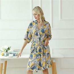 01713a0d6a 2019 Womens Night Robe Fresh Leaf Kimono Albornoz bata de verano para mujer  Peignoir Femme ropa de dormir ropa de dormir