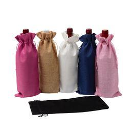 18 Couleurs Lin Lin Cordon Sacs À Vin Étanche À La Poussière Bouteille De Vin Sac D'emballage Champagne Pochettes Parti Emballage Cadeau en Solde