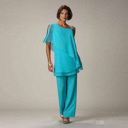 $enCountryForm.capitalKeyWord Australia - Two Pieces Chiffon Mother of the Bride Pant Suits For Wedding One Shoulder Tiered Pants Suit Plus Size Formal Dresses Evening