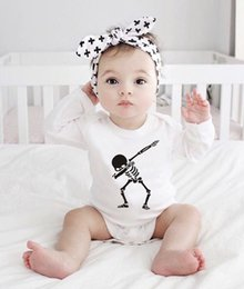tutu cute dance NZ - Funny Baby Halloween Costume Punk Dance Skull Printed Newborn Baby Bodysuit Cotton Soft Baby Clothes Long Sleeve Onesie