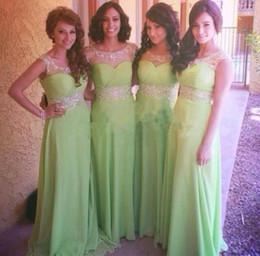 $enCountryForm.capitalKeyWord Australia - New African Cheap Green 2019 Bridesmaid Dresses Beads Long Prom Party Dresses Gowns A Line Jewel Neck Cap Sleeves Zip Back Chiffon Dress