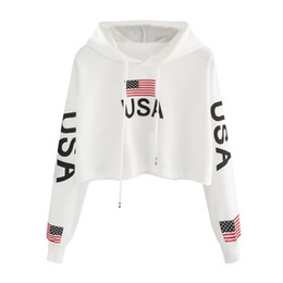 Wholesale usa flag sweatshirts for sale – custom American Flag USA Letters Print Hoodie Women Autumn Harajuku Casual Short Sweatshirt White Drawstring Hooded Pullover Top Y3