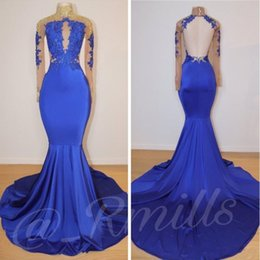 Celebrity inspired mermaid gowns online shopping - Royal Blue Long Mermaid Prom Dresses High Collar Gold Lace Applique Long Sleeves Evening Gowns Celebrity Formal Party Dresses