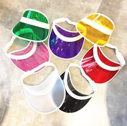 8d0d50bc049 Women s Adjustable 8pcs lot Candy Transparent PVC Plastic Hats Multicolor Sun  Visor Beach Party Caps UV Protection Cycling Hat C18112201