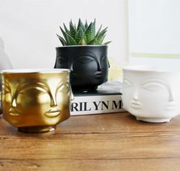 Discount bowl stands - Modern Styler face pattern Dora Maar Musa Vase Flower Pots Planters Muse Noir Dora Maar Salad Bowl candle Stand planters