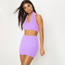 Discount clubwear dresses for women Sexy Club Outfits For Women Clubwear 2020 Halter Top Two Piece Set Feeling Pastel Velvet Crop Tops Mini Skirts Sets Wome
